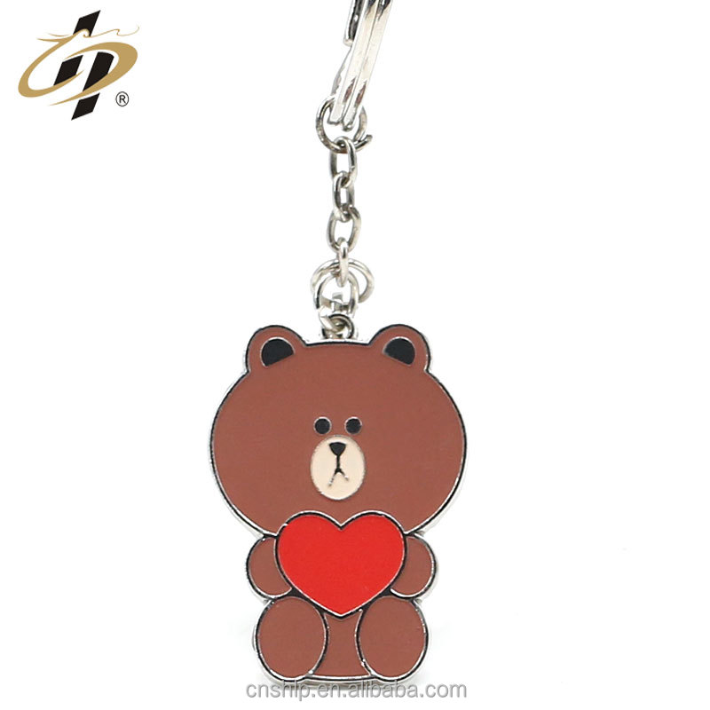 Free design promotional gift custom own hard enamel bear keychains
