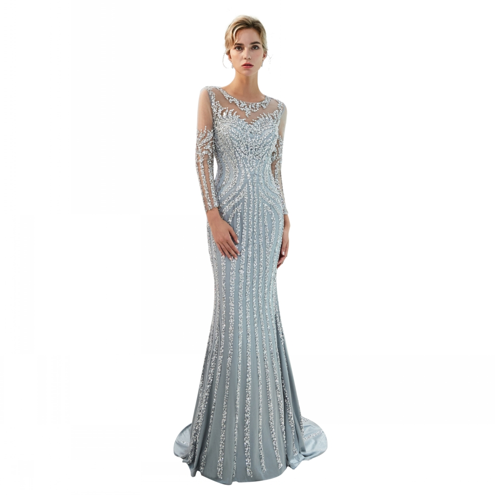 MOTB-090 Sexy Long Sleeves Party Wear Gown Sparkling Luxury Mermaid Dress Evening Dress Women