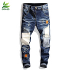 2019 New Design Custom Logo Blue Personality Ripped Skinny Rockstar men's Jeans