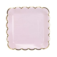 Wholesale New Hot Sell Disposable Vivid 250gsm 9 inch Pink Gold Border Paper Plates
