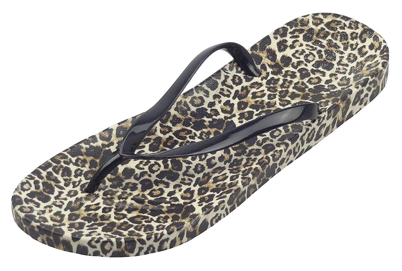 c886d22ef3d6 Get Quotations · Easemax Women's Sexy Thong Leopard Prints Flip Flop  Slippers Sandals