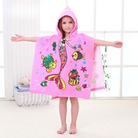 hot Children Cute Cartoon Hooded Cloak Beach Towel Animal Printed Microfiber Baby Kids Swimming Bathing Pure Cotton Bath Towel