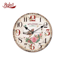 antique removable for sale round shape wooden shabby chic wooden station wall clock