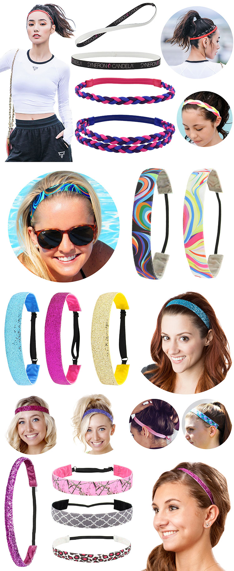 Custom printed solid color  women yoga sweatband elastic sport headband with silicone