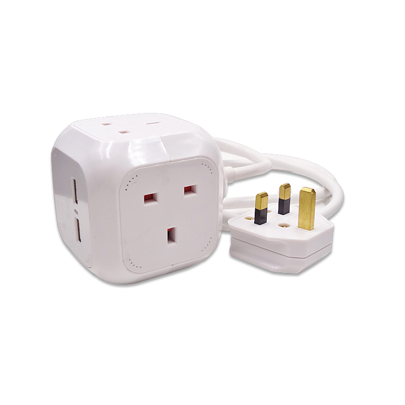 High quality PowerCube Extended USB 3 Metre UK Power Socket With 2 Built-In USB