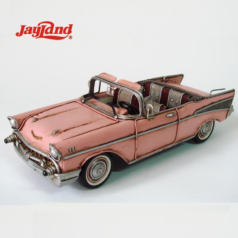 アンティークコンバーチブル車モデル金属1957ピンク