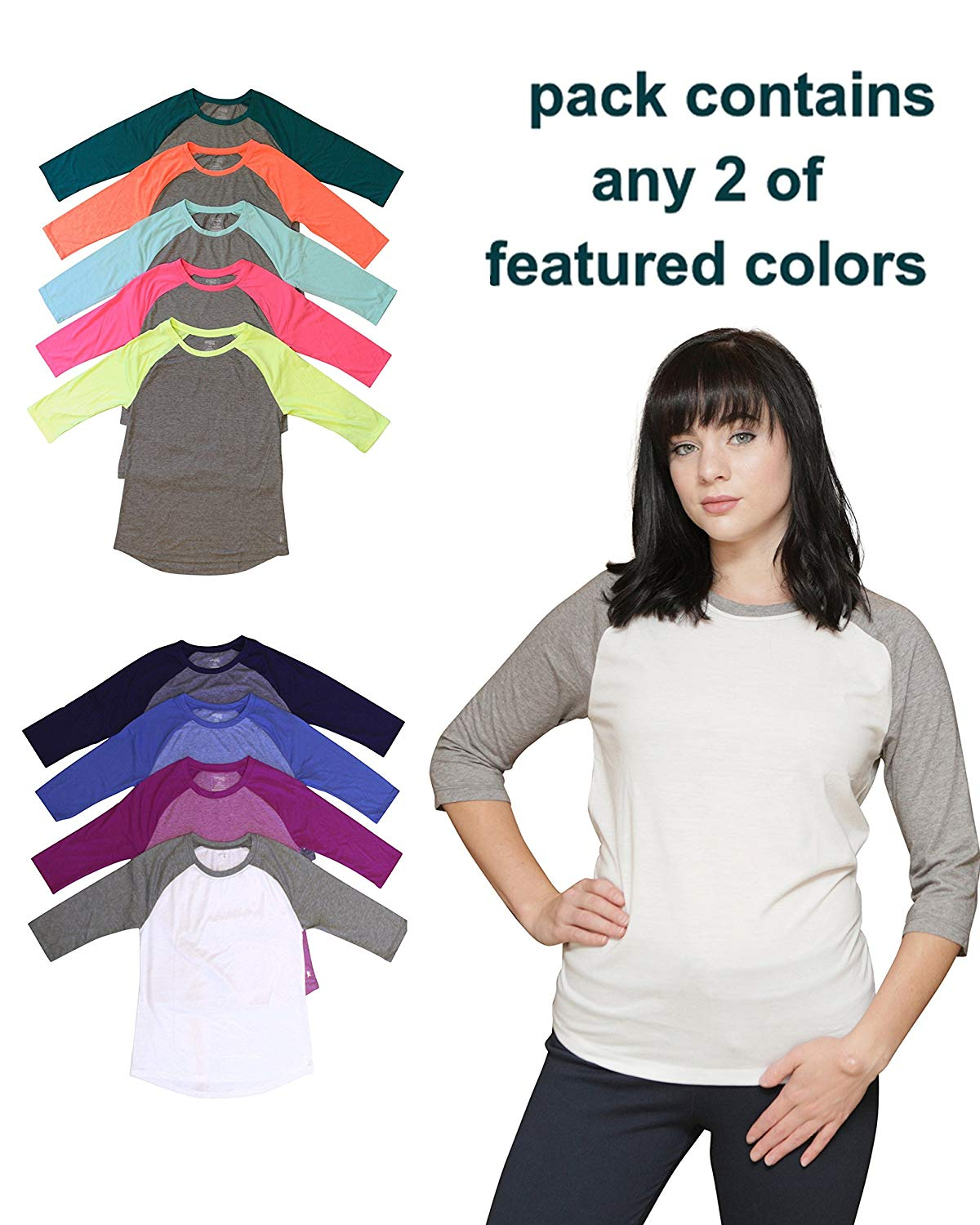 98a5add45c Get Quotations · Women's Danskin Now Dri-More Knit Two Color Raglan 3/4  Sleeve Shirts (