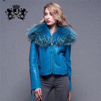 Classic High Quality Ladies Clothing With Raccoon Fur Collar Short Women'S Real Fur Leather Jacket