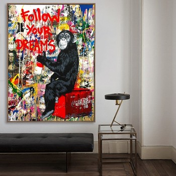 Creative Follow Your Dreams Graffiti Super Man Canvas Paintings Wall Art Pictures Prints Living Room Home Wall Decor Buy Paintings On Canvas Hotels