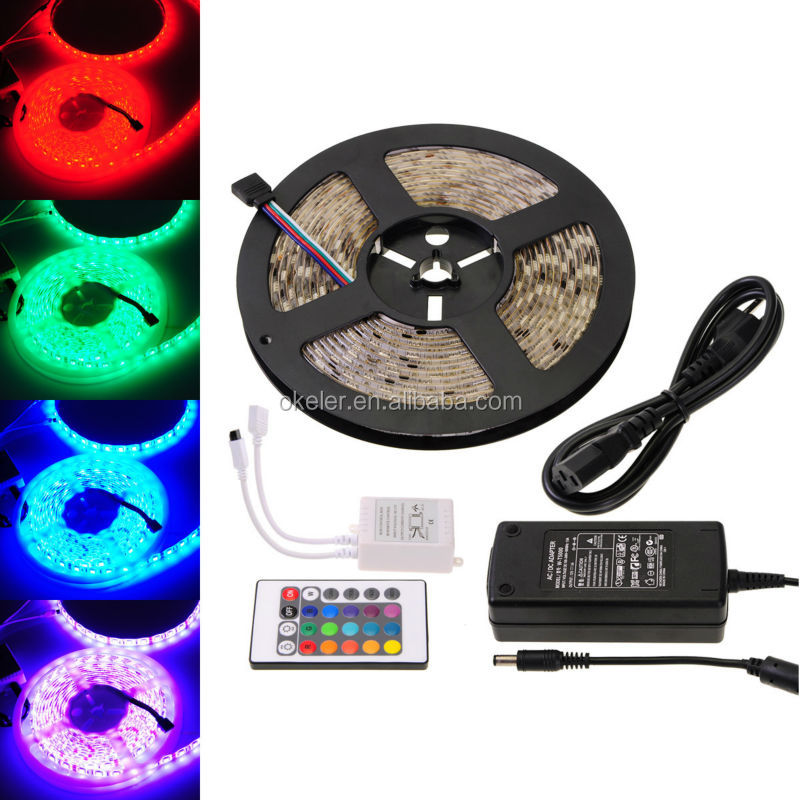 RGB Waterproof LED Strip Light, 24Key IR Remote Control 5M 5050 SMD 300 LED Lights Strip