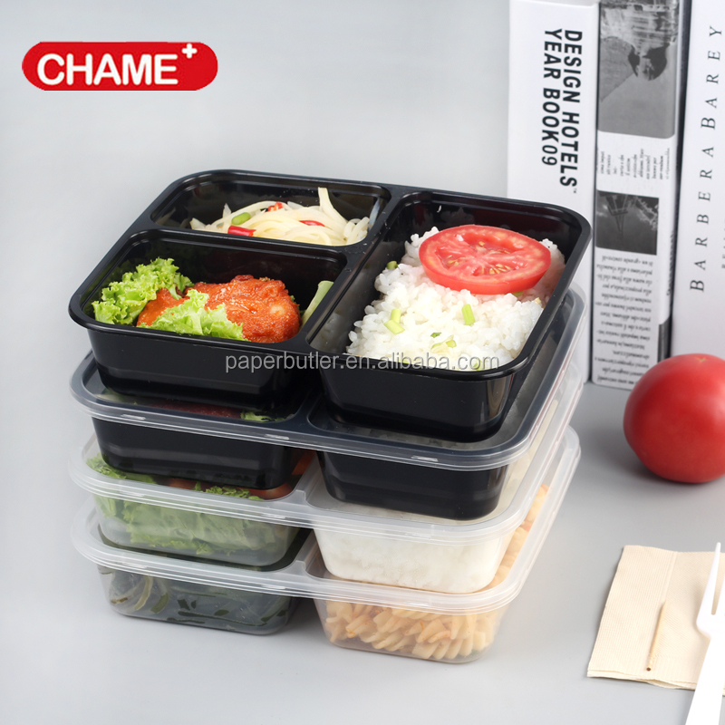 Clear food grade plastic bento lunch box 3 compartment
