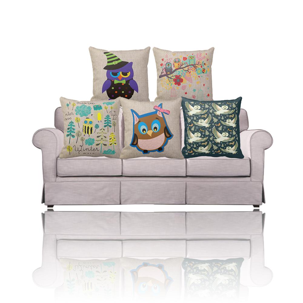 new vintage d coratifs pour la maison hibou coussin couvre carr coton linge canap housse de. Black Bedroom Furniture Sets. Home Design Ideas