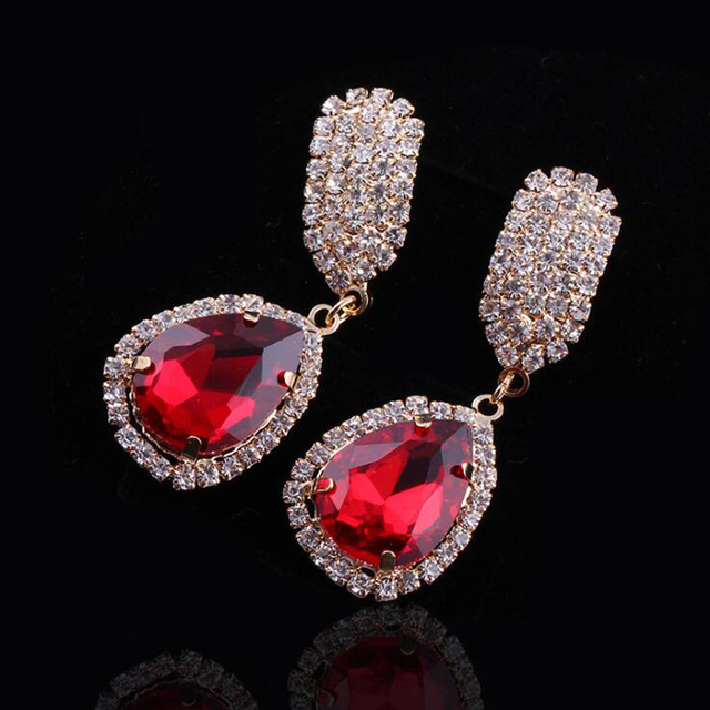Fashionable new colorful drop Czech diamond earrings European and American exaggerated fine earring yiwu market