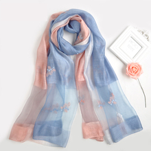 2017 fashion trend New arrival women wholesale china long hand embroidery floral wool and silk blend scarf shawl