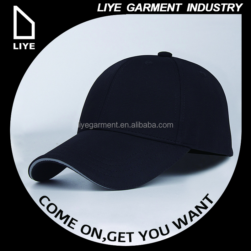 High Quality promotional custom cotton embroidered blank black 6 panel baseball cap