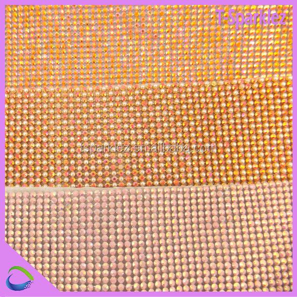 top quality hot fix ss6 crystal rhinestone mesh trimming for furniture decoration