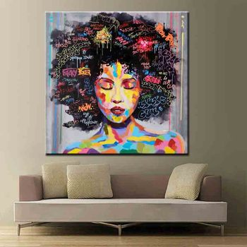 New Graffiti Street Wall Art Abstract painting Modern African Women Portrait Canvas Oil Painting wholesale price
