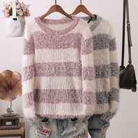Luxury high quality super soft crew neck mohair jumper sweater