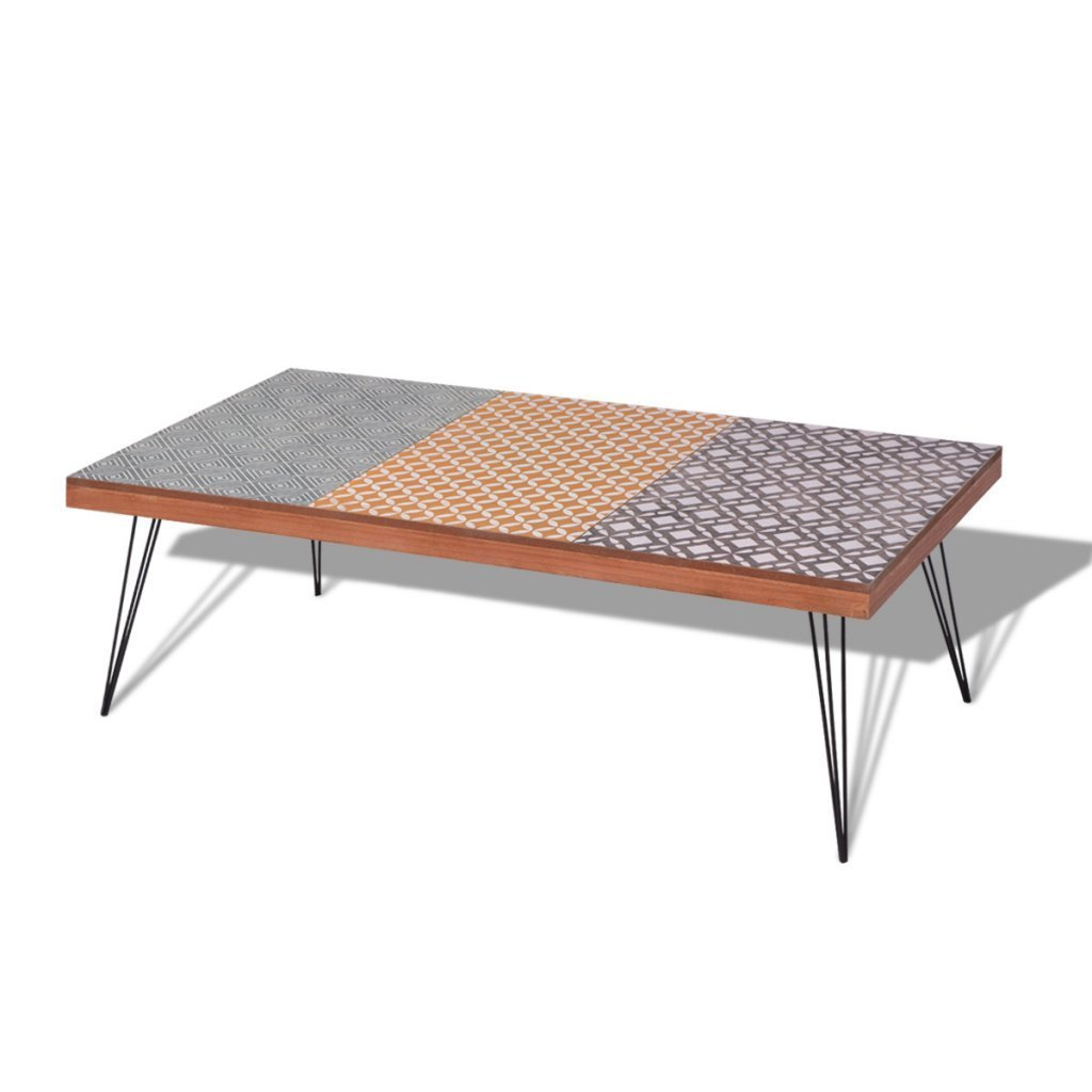 Get Quotations Festnight Retro Vintage Style Coffee Table With Durable Metal Legs 47 2 X 23 6
