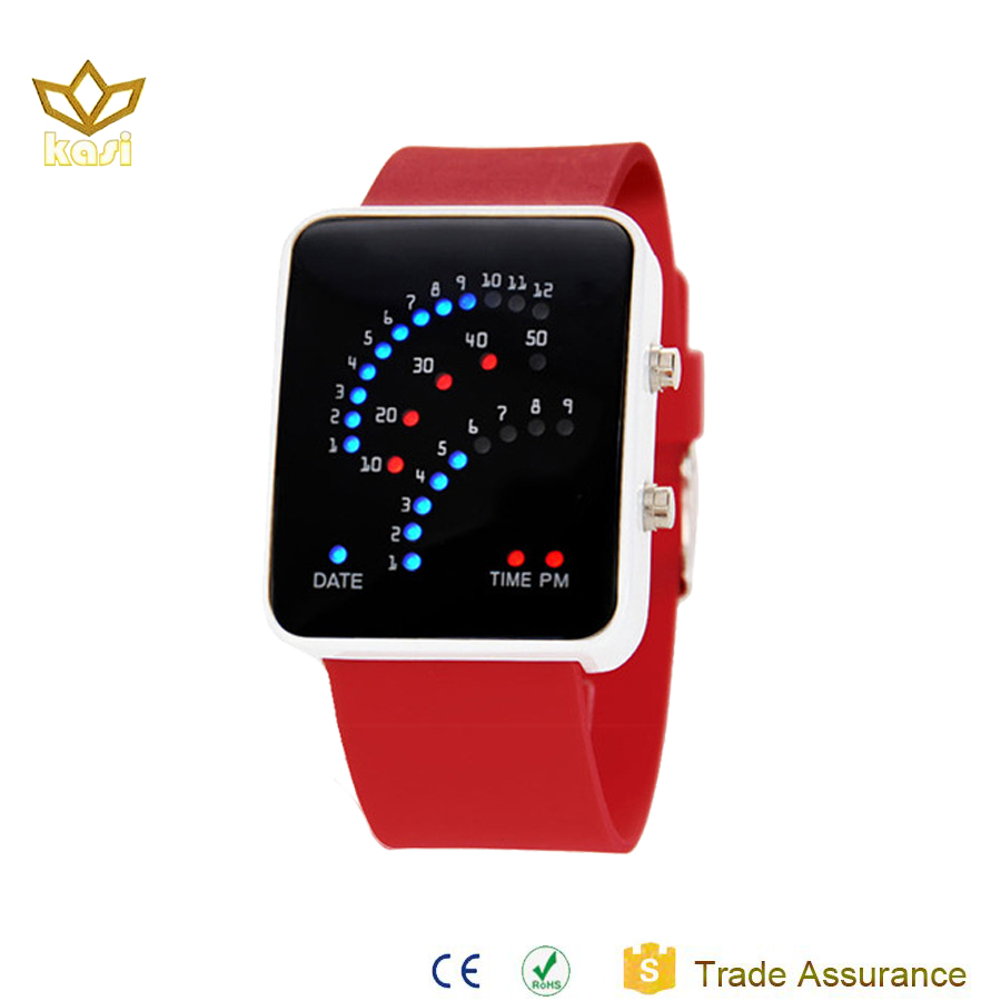 Best selling products china factory oem cheap price red silicone led digital wristwatch ladies watch 7015M
