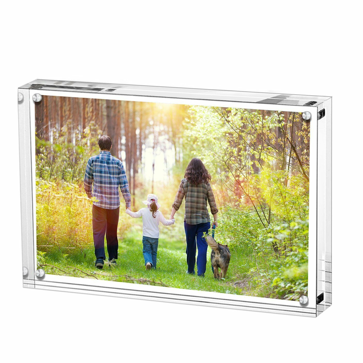 Magnetic Acrylic Photo <strong>Frame</strong> 5/6/7 inch Free Standing Transparent Clear Block