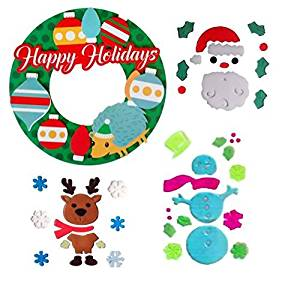 CHRISTMAS CLASSROOM DECORATIONS-3D PAPER WREATH FOR BULLETIN BOARD OR DOOR AND GEL WINDOW CLING BUNDLE-SNOWMAN WITH WINTER SNOW FLAKES, CHRISTMAS TREE WITH PRESENTS, ORNAMENTS, AND MERRY CHRISTMAS!