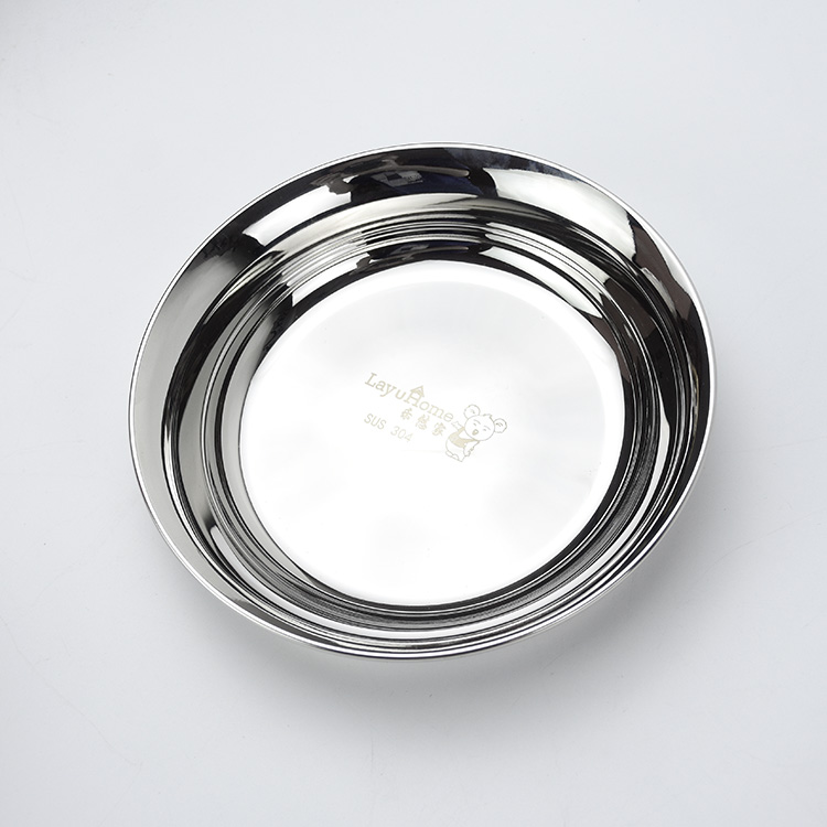 Stainless Steel Round Plates Serving Tray Food Platter Dinner Tableware