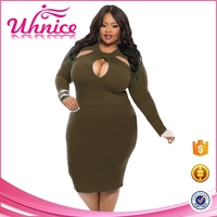 Unique type plus size women bodycon midi dress with long sleeve clothing for fat woman