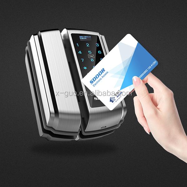 optional various colors water-proof four opening ways smart biometric glass door lock