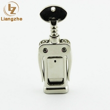 Wholesale promition metal corkscrew shape wine bottle opener usb flash drive with free logo