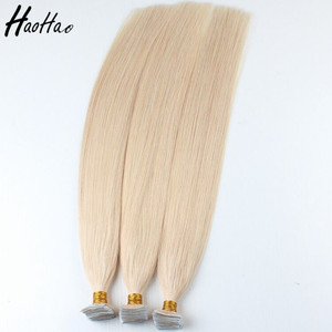 Double Drawn Full Cuticle Skin Weft 40pcs / 100g Virgin 100% Cuticle Aligned Huam Indian Hair