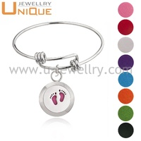 Fashion Jewelry Baby Foot Stainless Steel Essential Oil Diffuser Endless Love Bangle Bracelet