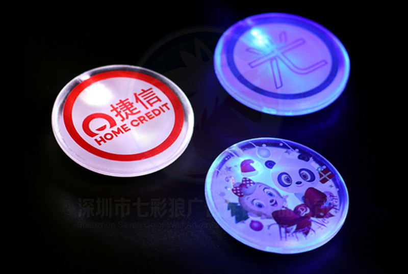 Factory Customized Design Badge Company Logo LED Badge For Promotion Gift Personalized  Flashing LED Badge Pin