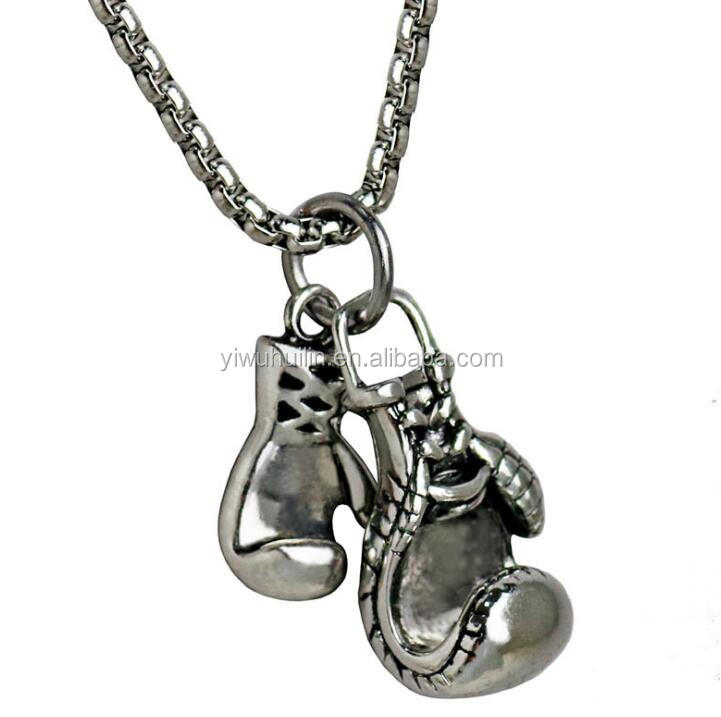 CH049 Huilin Stainless Steel Chain Double Boxing Glove Pendant Rocky Necklace Plated Gold Silver Jewelry