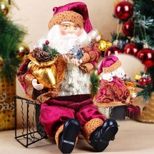 High Quality 35cm Christmas Sitting Santa Claus Doll Figurine Toy Home Room Ornament Decoration Decor gift