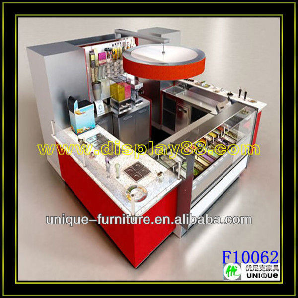 10*10 ft Retail Modular Furniture Italian Ice Cream Kiosks mall gelato shop design with corian material and customized logo