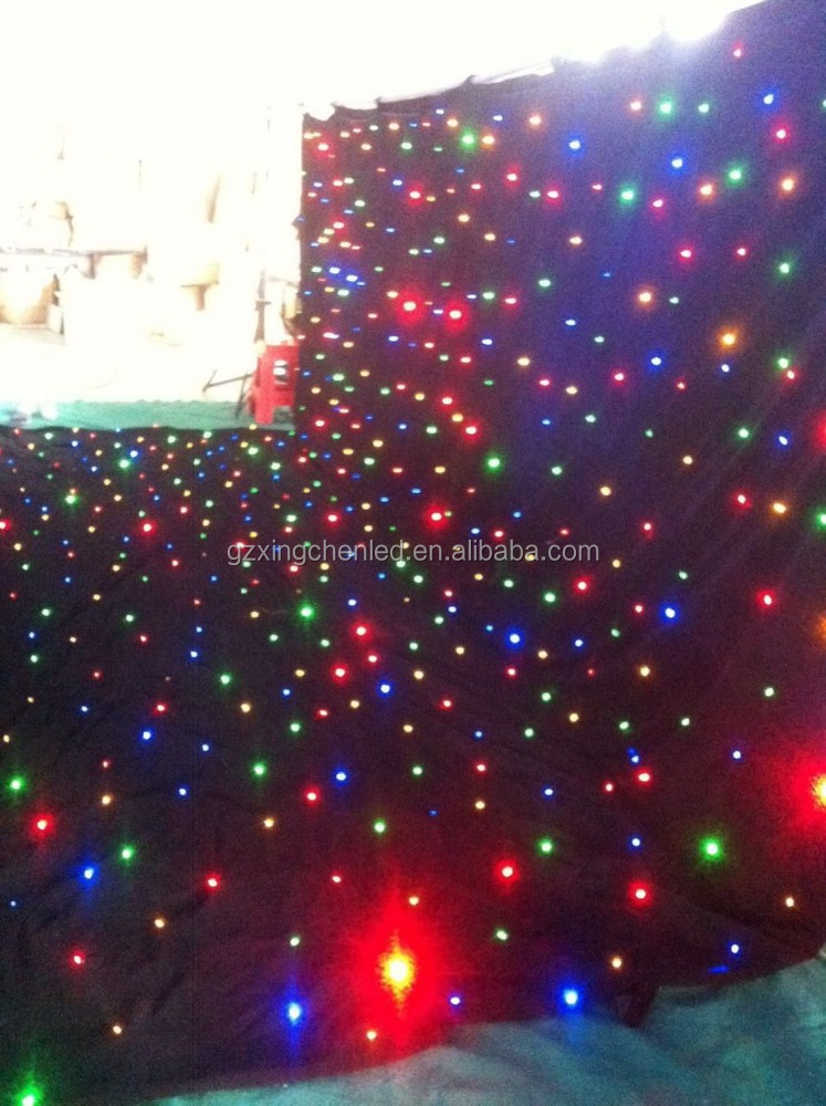 led wedding party backdrop/led light stage curtain/led starry light backdrop RGBW