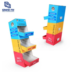 Carrefour OEM Fruit Juice Cardboard Counter Top Pop Display Stand,Cardboard Corrugated Paper Candy Store PDQ Display Box