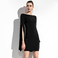 Fashionable loose round neck high waist slim a-style dress female