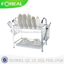 Multi-Function Two-tier Plate Holder Stand with Utensil Holder