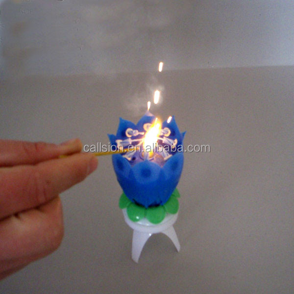 colorful rotating lotus happy birthday candle with happy birthday music birthday cake with 8 small candles free shipping