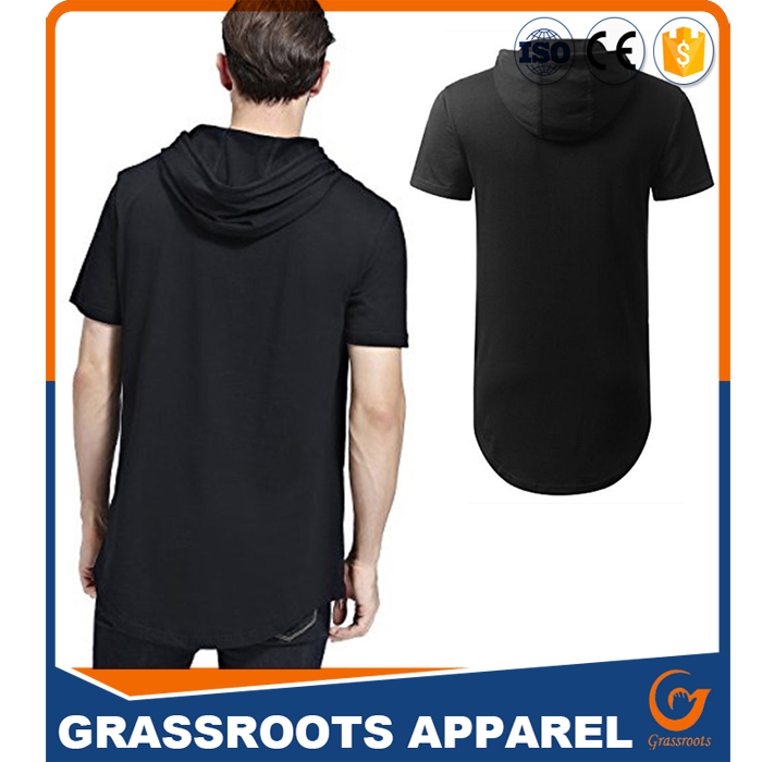 Men Short Sleeve Hip Hop Loose Fit Hood T Shirts With Side Zips