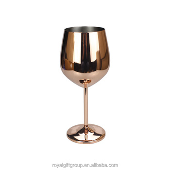 High Quality Rose Gold Stainless Steel Goblet High-End Red Wine Glass Home Bar Drinking Glass Cup