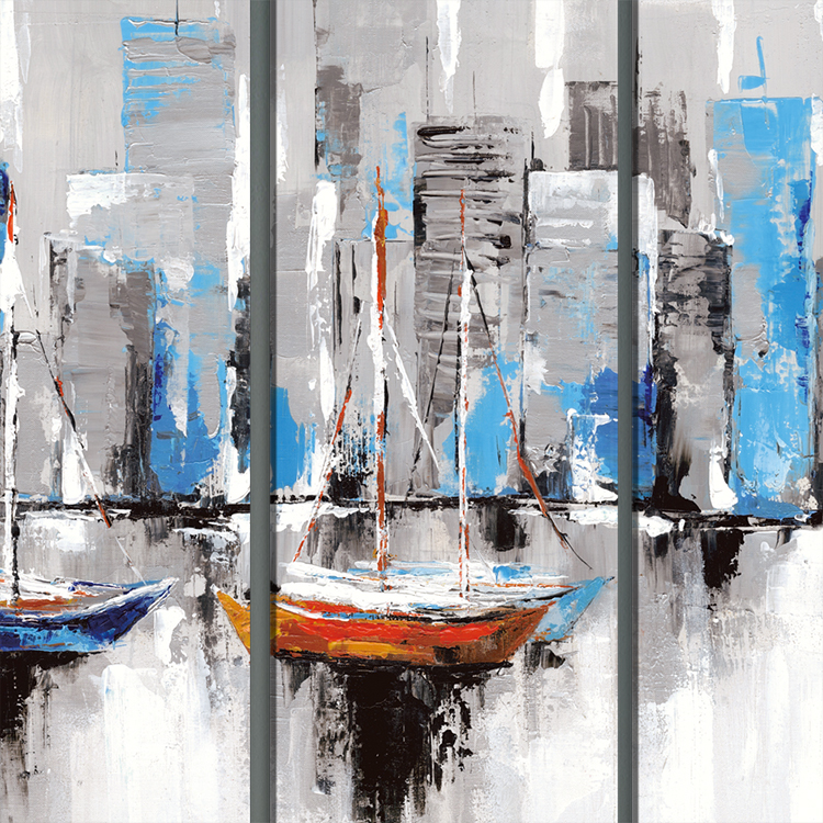 Suitable for home decoration 5 pieces of micro-spray painting boats abstract  canvas prints wall Art Set