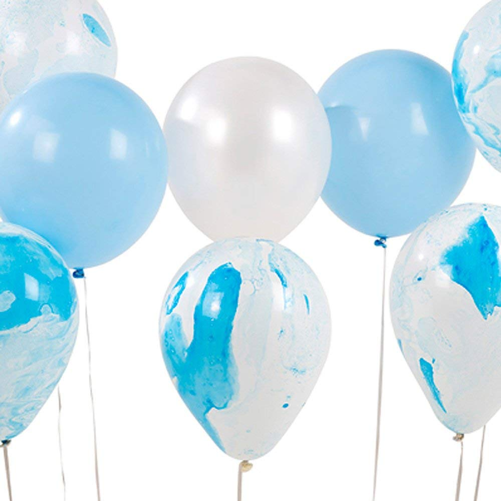 Talking Tables BLUE2-MARBLEBALL Heart Marble Effect Balloons in 3 Designs for Birthday and Party, Blue (12 Pack)