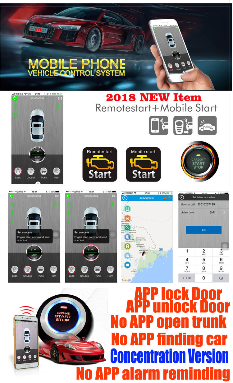 gsm&gps rfid car alarm with engine start stop button remote start stop working with original car key remote wholesale price