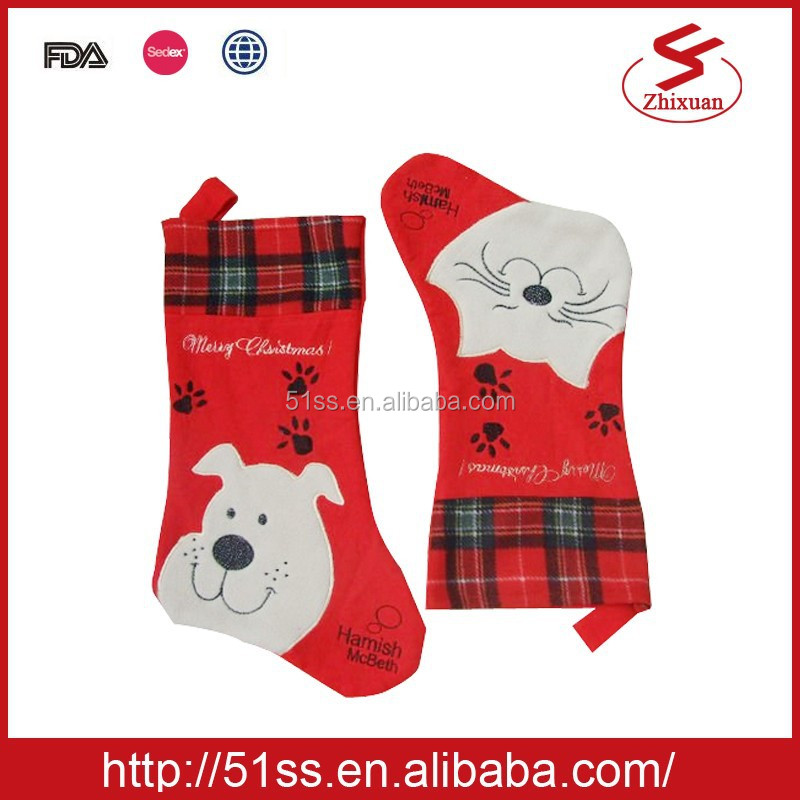 Cat and dog Non-woven christmas stocking, 25x43cm
