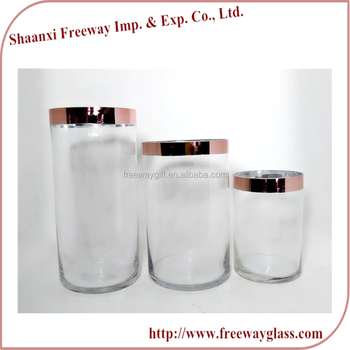 Clear Cylinder Glass Hurricane Vases With Rose Gold Effect Buy