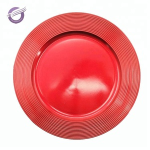 PZ25840 cheap wedding decorative factory red plastic charger plates wholesale