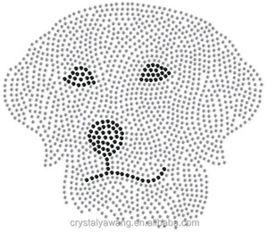 dog iron on rstrass crystal rhinestone design for T shirt